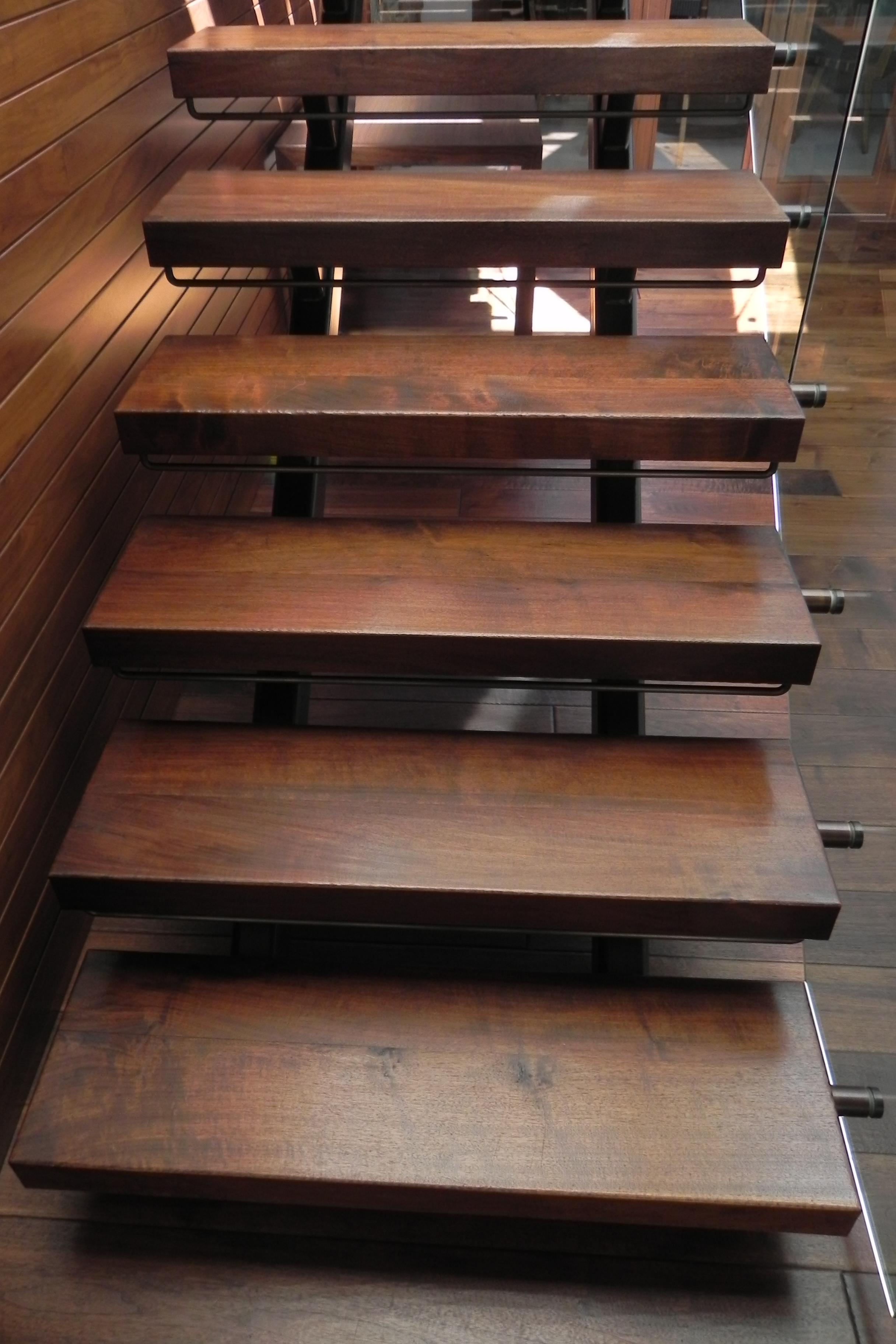 Walnut Slab Tread Staircase Detail