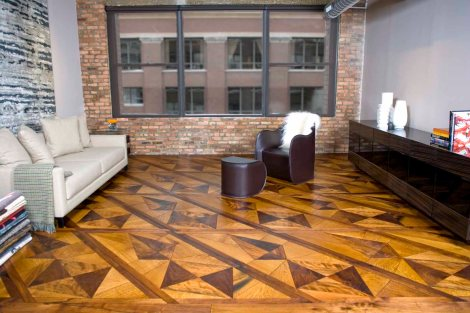 Origami parquet made of White Oak, Spalted Maple, & Walnut  (Pensare Group Showroom in Chicago, IL)